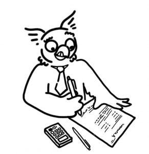 Sova píše test, zkouška