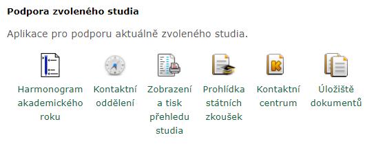 UIS -> Moje studium -> Portál studenta -> Zobrazení a tisk přehledu studia