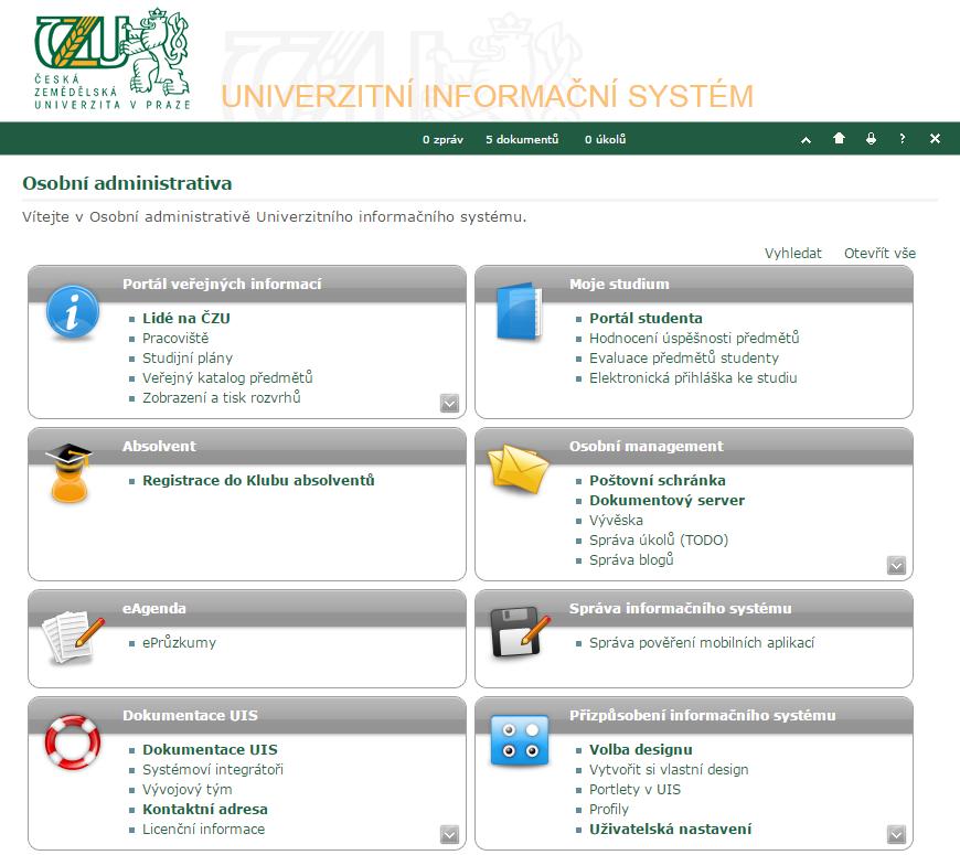 ČZU přechází na nový informační systém