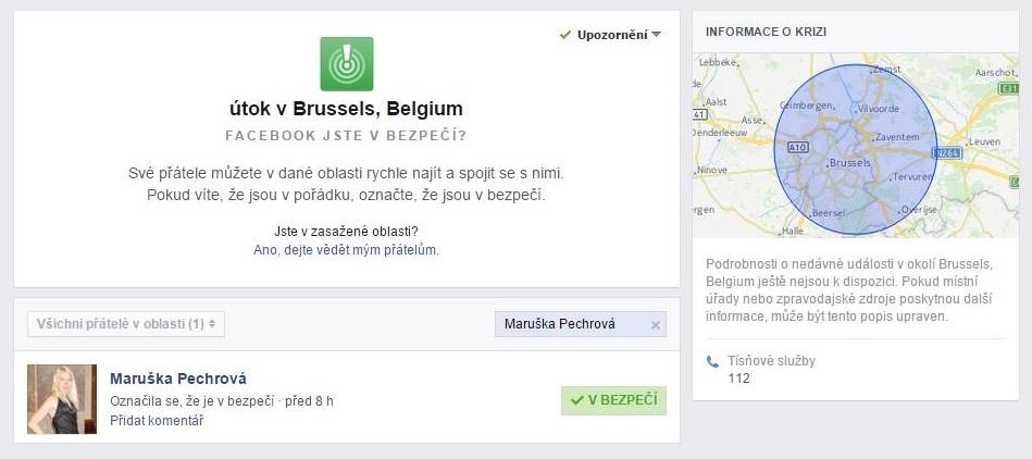 Útok v Bruselu: Facebooku, ano, jsem v bezpečí!