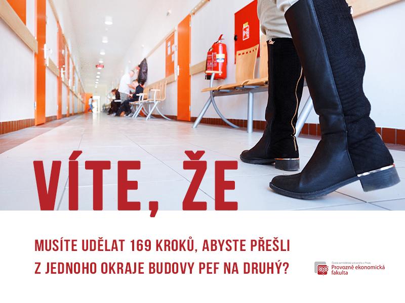 Délka z jednoho kraje Provozně ekonomické fakulty na druhý je 169 kroků; autor obrázku Patrik Hácha