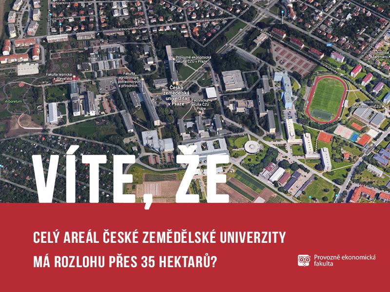 Areál České zamědělské univerzity má rozlohu 35 hektarů; autor obrázku Patrik Hácha