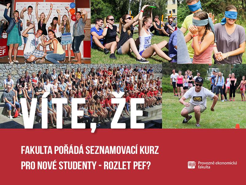 Provozně ekonomická fakulta pořádá seznamovací kurz Rozlet PEF pro nové studenty; autor obrázku Patrik Hácha