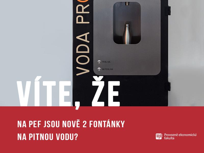 Na Provozně ekonomické fakultě jsou nově 2fontánky na pitnou vodu; autor obrázku Patrik Hácha