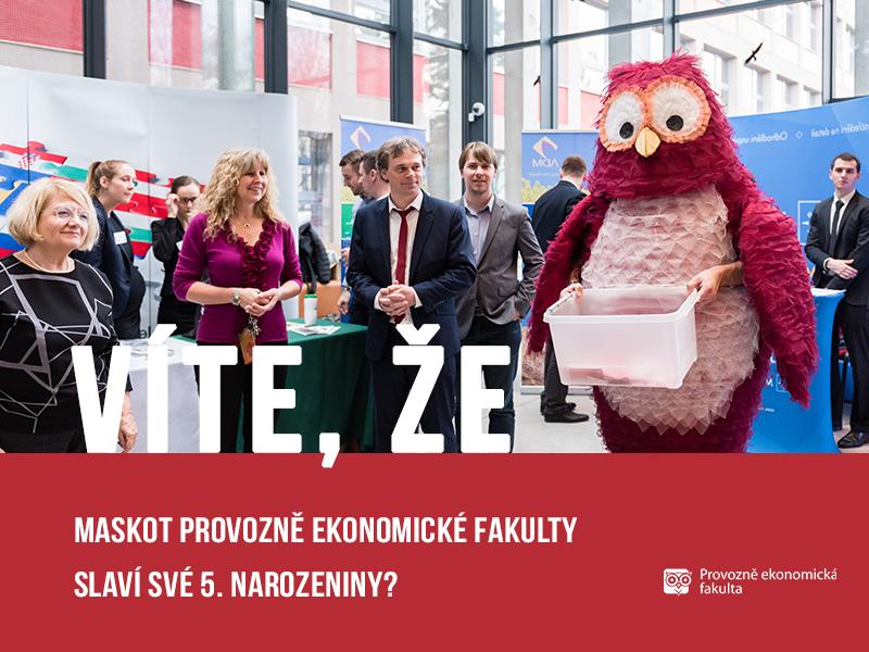 Sova PEF - maskot Provozně ekonomické fakulty slaví páté narozeniny; autor obrázku Patrik Hácha