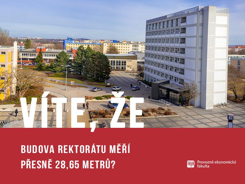 Budova rektorátu na České zemědělské univerzitě měří 28,65 metrů; autor obrázku Patrik Hácha