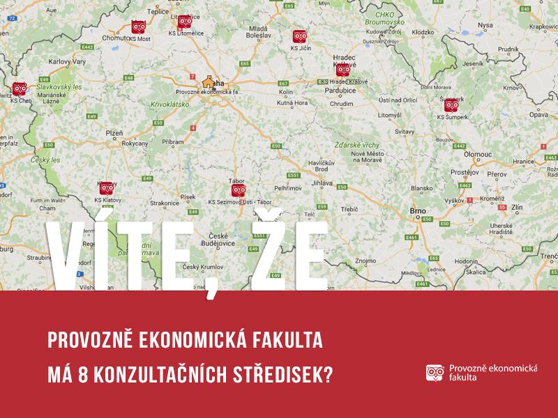 Provozně ekonomická fakulta má 8konzultačních středisek pro kombinované studium; autor obrázku Patrik Hácha