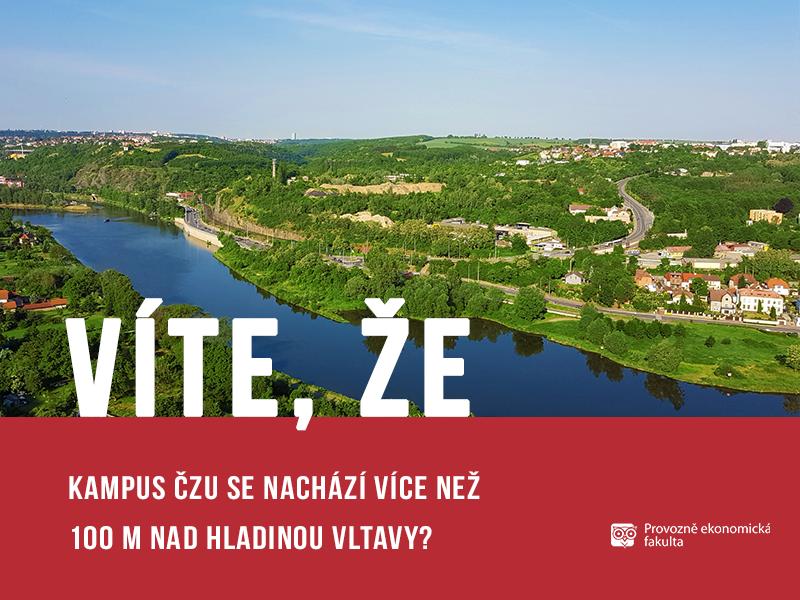 Kampus České zemědělské univerzity se nachází 100 metrů nad hladinou Vltavy; autor obrázku Patrik Hácha