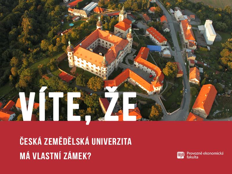 Česká zemědělská univerzita má vlastní zámek vKostelci nad Černými lesy; autor obrázku Patrik Hácha