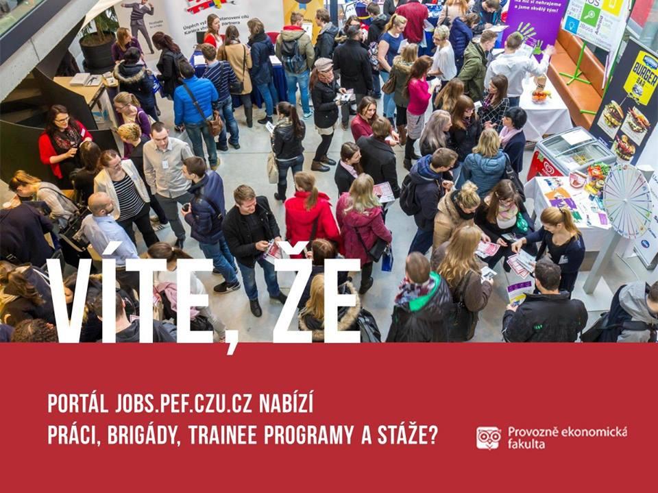 Portál Provozně ekonomické fakulty - jobs.pef.czu.cz nabízí studentům práci, brigády astáže; autor obrázku Václav Lohr