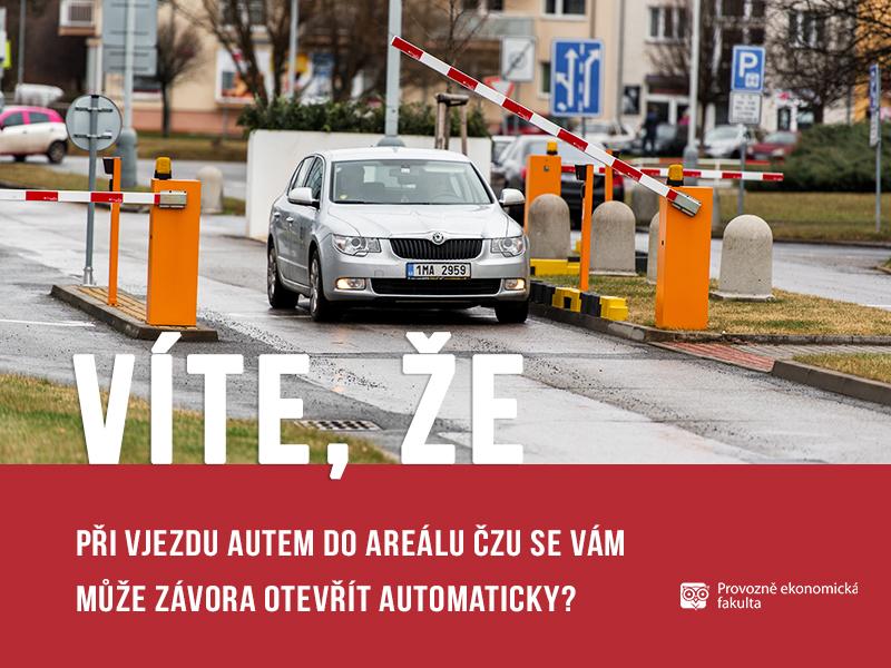 vite, ze vjezd do areálu ČZU parkování; autor Patrik Hácha