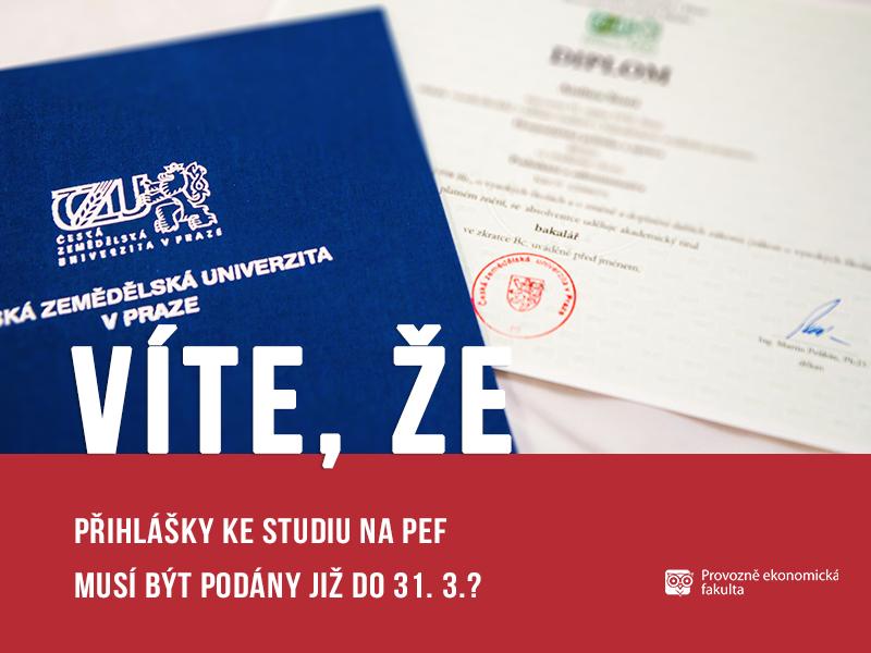přihlášky ke studiu na PEF; autor Patrik Hácha