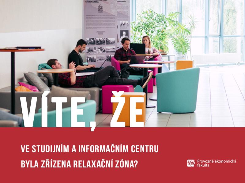 Relaxační zóna ve studijním a informačním centru ČZU; autor Patrik Hácha